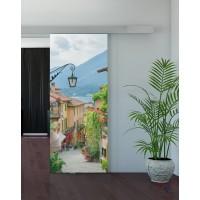 Одинарная раздвижная стеклянная дверь с фотопечатью Ривьера