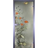 Дверь стеклянная межкомнатная Маки с бабочкой