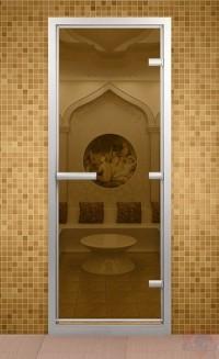 Стеклянная дверь для турецкой бани - Бронза прозрачное