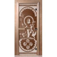 Стеклянная дверь для сауны Ольха - стекло бронза Посейдон