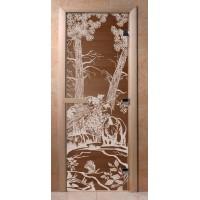 Стеклянная дверь для сауны Ольха - стекло бронза Мишки в лесу