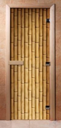 Стеклянная дверь для сауны - фотопечать А019