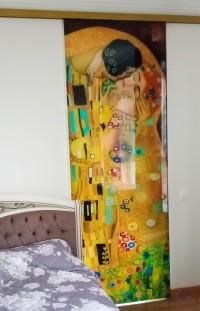 Одинарная раздвижная стеклянная дверь с фотопечатью Климт