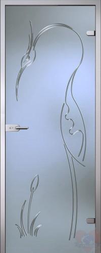 Дверь стеклянная Цапля