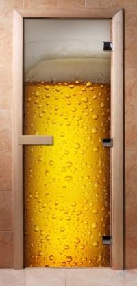 Стеклянная дверь для сауны - фотопечать А014