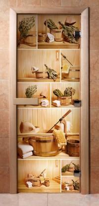 Стеклянная дверь для сауны - фотопечать А005
