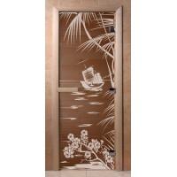 Стеклянная дверь для сауны Ольха - стекло бронза Голубая лагуна