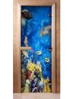 Стеклянная дверь для сауны - фотопечать А068