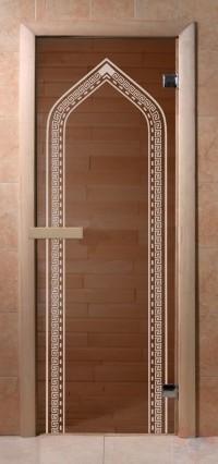 Стеклянная дверь для сауны Эконом - бронза Арка