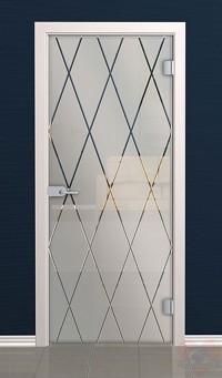 Дверь стеклянная межкомнатная Ромбы - Стекло матовое бесцветное
