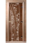 Стеклянная дверь для сауны Ольха - бронза Весна цветы