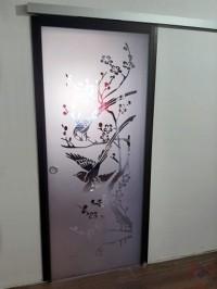 Одинарная раздвижная стеклянная дверь бронза Mirra Сороки