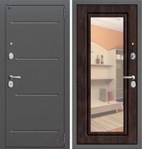 Дверь металлическая Графф Р2-206-П28 Темная Вишня - зеркало