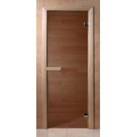 Стеклянная дверь для сауны Эконом - бронза