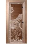 Стеклянная дверь для сауны Ольха - бронза Банька в лесу