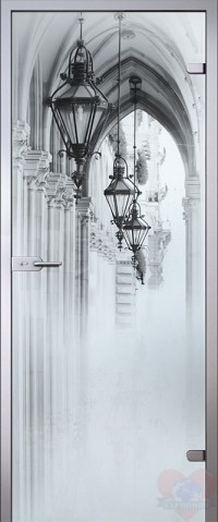 Дверь стеклянная Аркада - Сатинато Белое