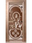 Стеклянная дверь для сауны Ольха - бронза Посейдон