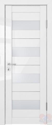 Дверь межкомнатная Белый глянец Трис стекло белое