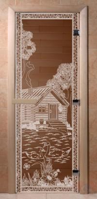 Стеклянная дверь для сауны Ольха - стекло бронза Банька в лесу