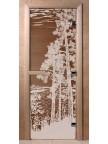 Стеклянная дверь для сауны Ольха - бронза Рассвет