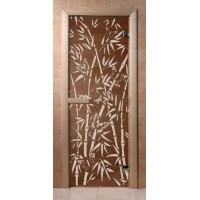 Стеклянная дверь для сауны Эконом - бронза Бамбук