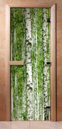 Стеклянная дверь для сауны - фотопечать А084