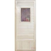 Дверь для сауны липа - Девушка в баньке