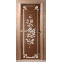 Стеклянная дверь для сауны Ольха - стекло бронза Розы