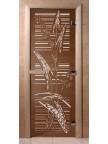 Стеклянная дверь для сауны Ольха - бронза Листья