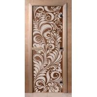 Стеклянная дверь для сауны Ольха - стекло бронза Хохлома