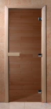Стеклянная дверь для сауны Ольха - стекло бронза прозрачное
