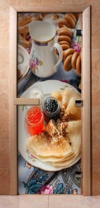 Стеклянная дверь для сауны - фотопечать А059