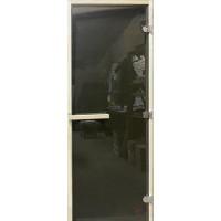 Стеклянная дверь для сауны осина - Графит Сумерки