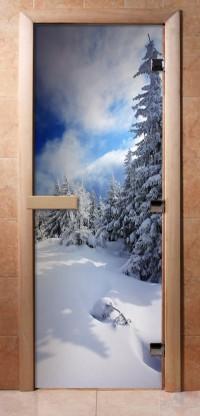 Стеклянная дверь для сауны - фотопечать А081