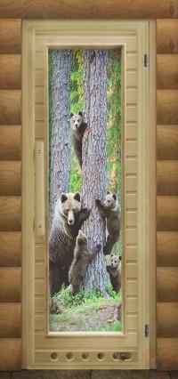 Дверь для сауны люкс - Мишки