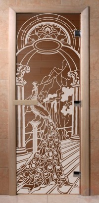 Стеклянная дверь для сауны Ольха - стекло бронза Жар птица