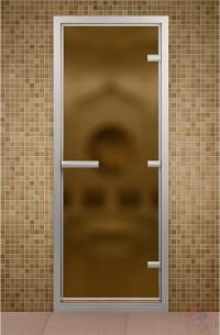 Стеклянная дверь для турецкой бани - Бронза матовое