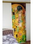 Раздвижная стеклянная дверь фотопечать с подложкой Климт, стекло прозрачное б/ц
