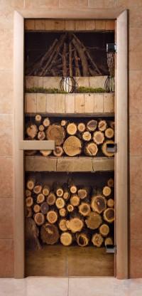 Стеклянная дверь для сауны - фотопечать А024