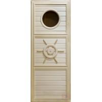 Дверь для сауны липа - Штурвал с иллюминатором