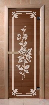 Стеклянная дверь для сауны Эконом - бронза Розы