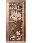 Стеклянная дверь для сауны Ольха - бронза Лебединое озеро