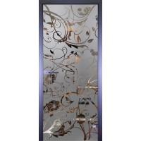 Дверь стеклянная межкомнатная Mirra - Цветы завитки