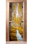 Стеклянная дверь для сауны - фотопечать А082