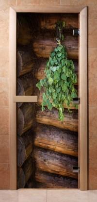 Стеклянная дверь для сауны - фотопечать А007