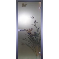 Дверь стеклянная межкомнатная Бабочка-1 - Сатинато
