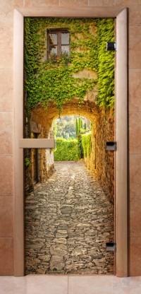 Стеклянная дверь для сауны - фотопечать А072