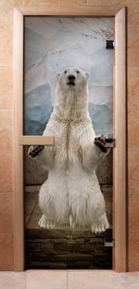 Стеклянная дверь для сауны - фотопечать А063