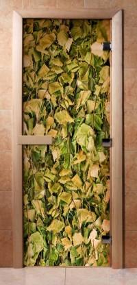 Стеклянная дверь для сауны - фотопечать А001