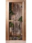 Стеклянная дверь для сауны - фотопечать А030